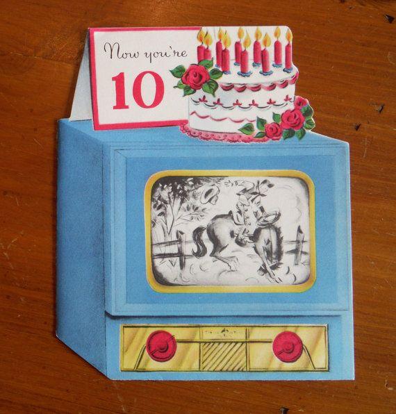 Vintage 10 year old birthday card vintage 1950s tenth birthday vintage 10 year old birthday card vintage tenth birthday card vintage television birthday card vintage boys girl tenth birthday bookmarktalkfo Images