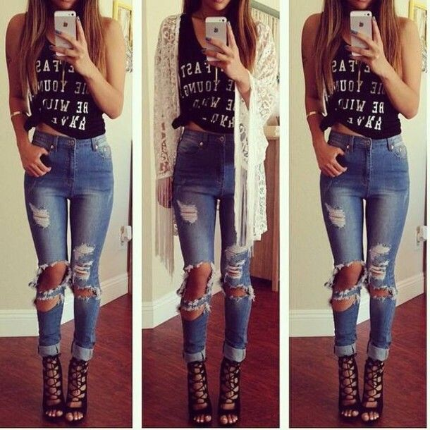 a02b70e58760 jeans lace up skinny jacket denim jacket skinny pants skinny jeans denim  skinny style classy ripped jeans black and white top high heels boots denim  pants ...