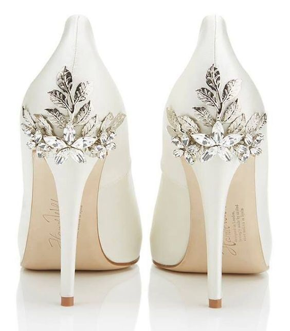 32 floral wedding shoes ideas for spring and summer nuptials 32 floral wedding shoes ideas for spring and summer nuptials white heels with metallic flowers and leaves for an elegant yet feminine look mightylinksfo