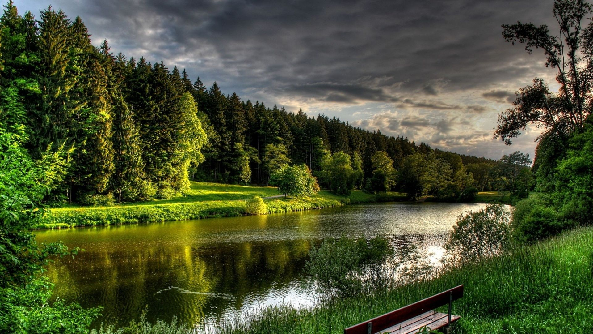 Download Wallpaper 1920x1080 River Summer Bench Trees Full Hd
