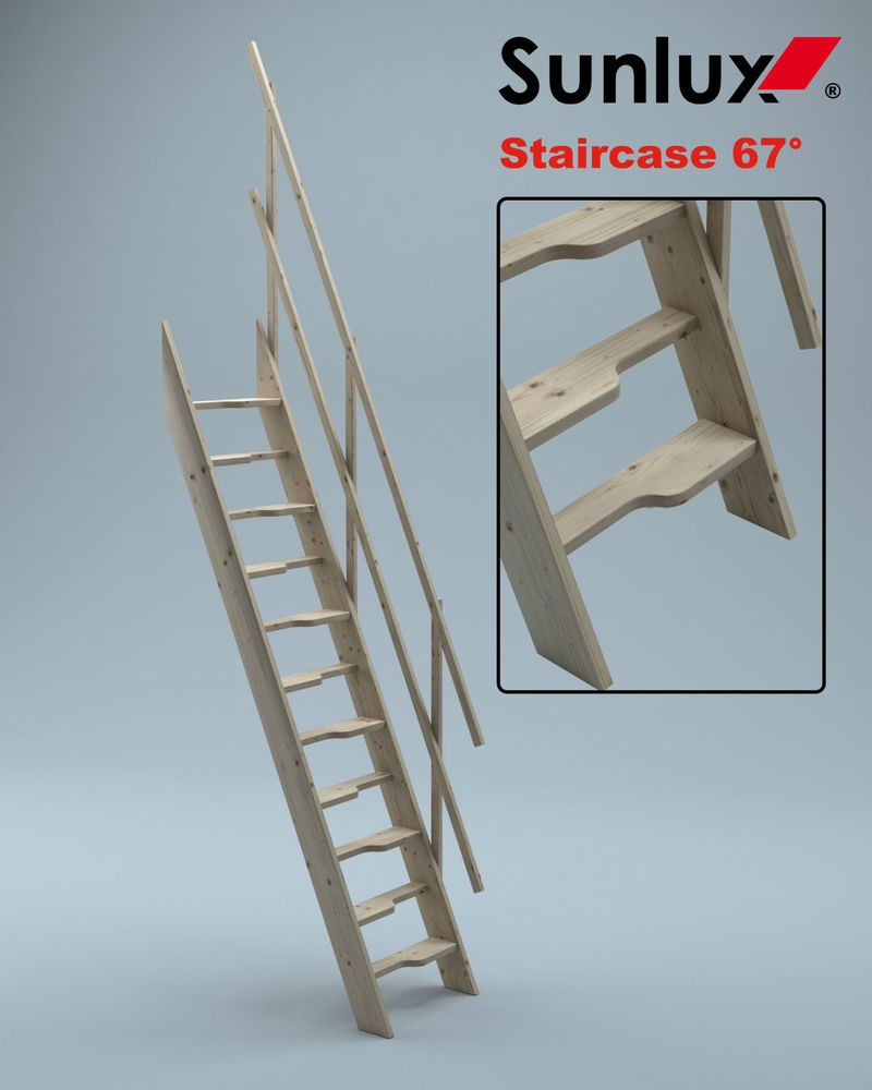 Wooden Staircase Kit Loft Attic Stairs Ladder Space Saver 600mm Paddle Steps  67°