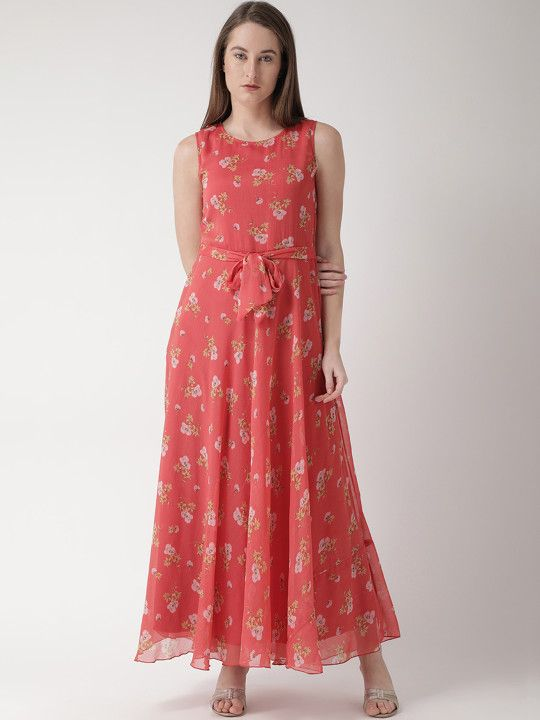 216bf07217 The Vanca Women Coral Pink Printed Maxi Dress -