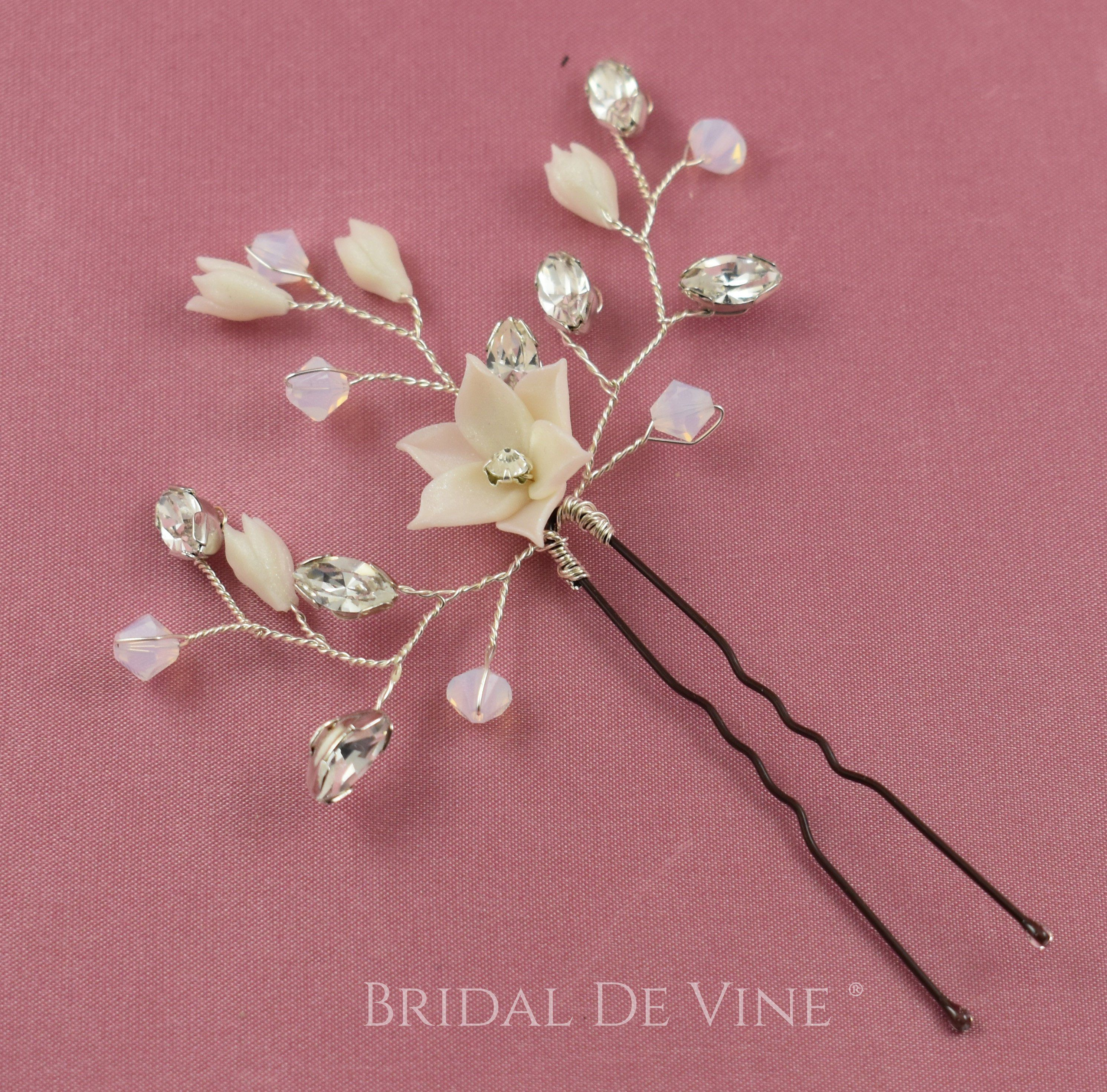 Flower Wedding Hair Pins Bridesmaid Crystal Diamante Pearls Bridal Clips Comb UK