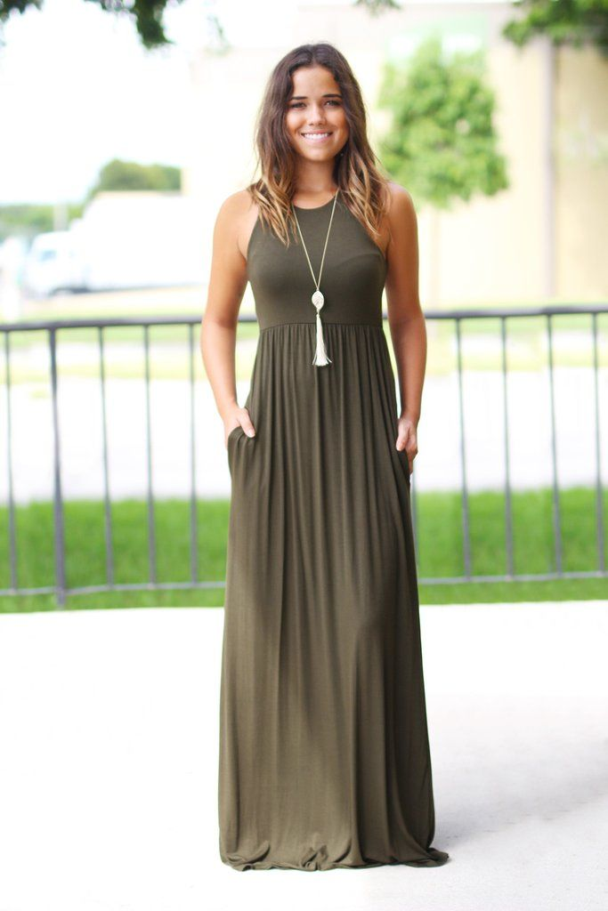 Olive Maxi Dress with Pockets 6313f017df7b