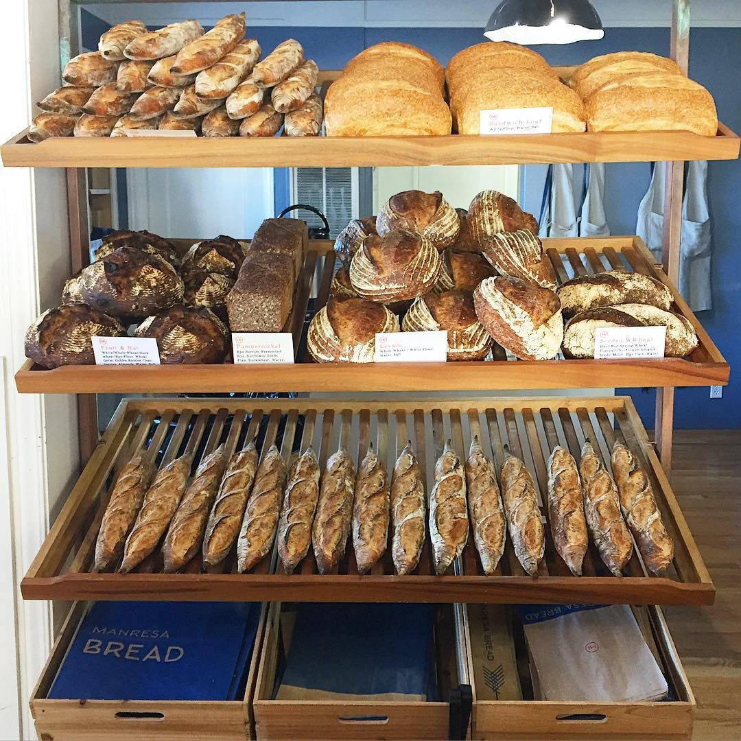 The bread shelf at Manresa Bread in Los Gatos, CA.