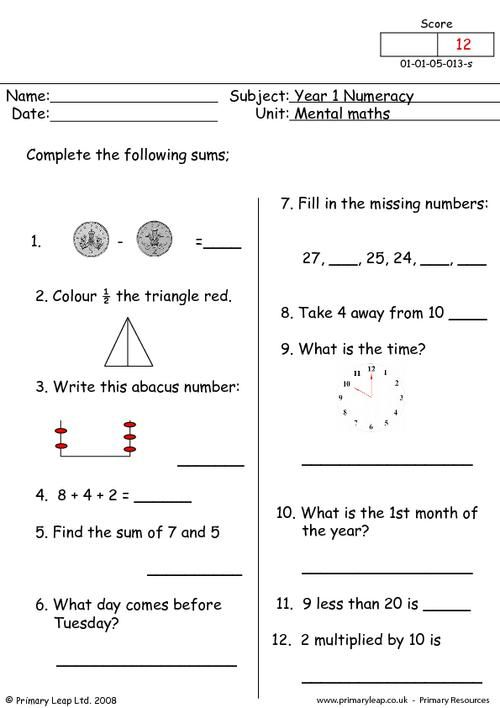 Numeracy Mental Maths 1 Worksheet Primaryleap Co Uk Mental Maths Worksheets Mental Math Kids Math Worksheets