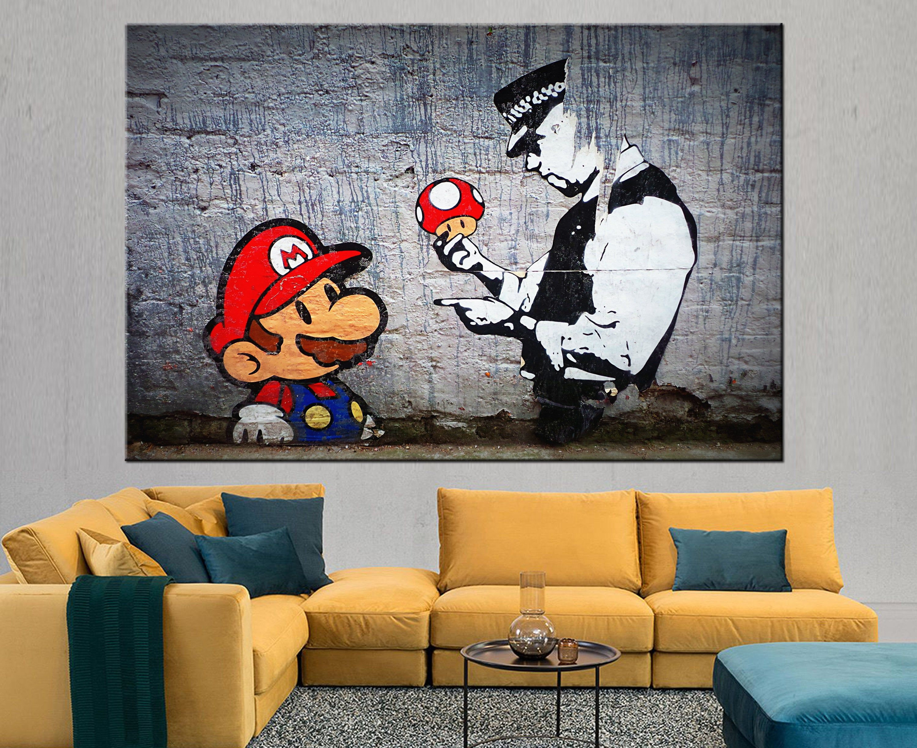 Banksy Super Mario Canvas Banksy Mario Bros Wall Art Banksy Etsy Custom Canvas Art Urban Wall Art Canvas Prints