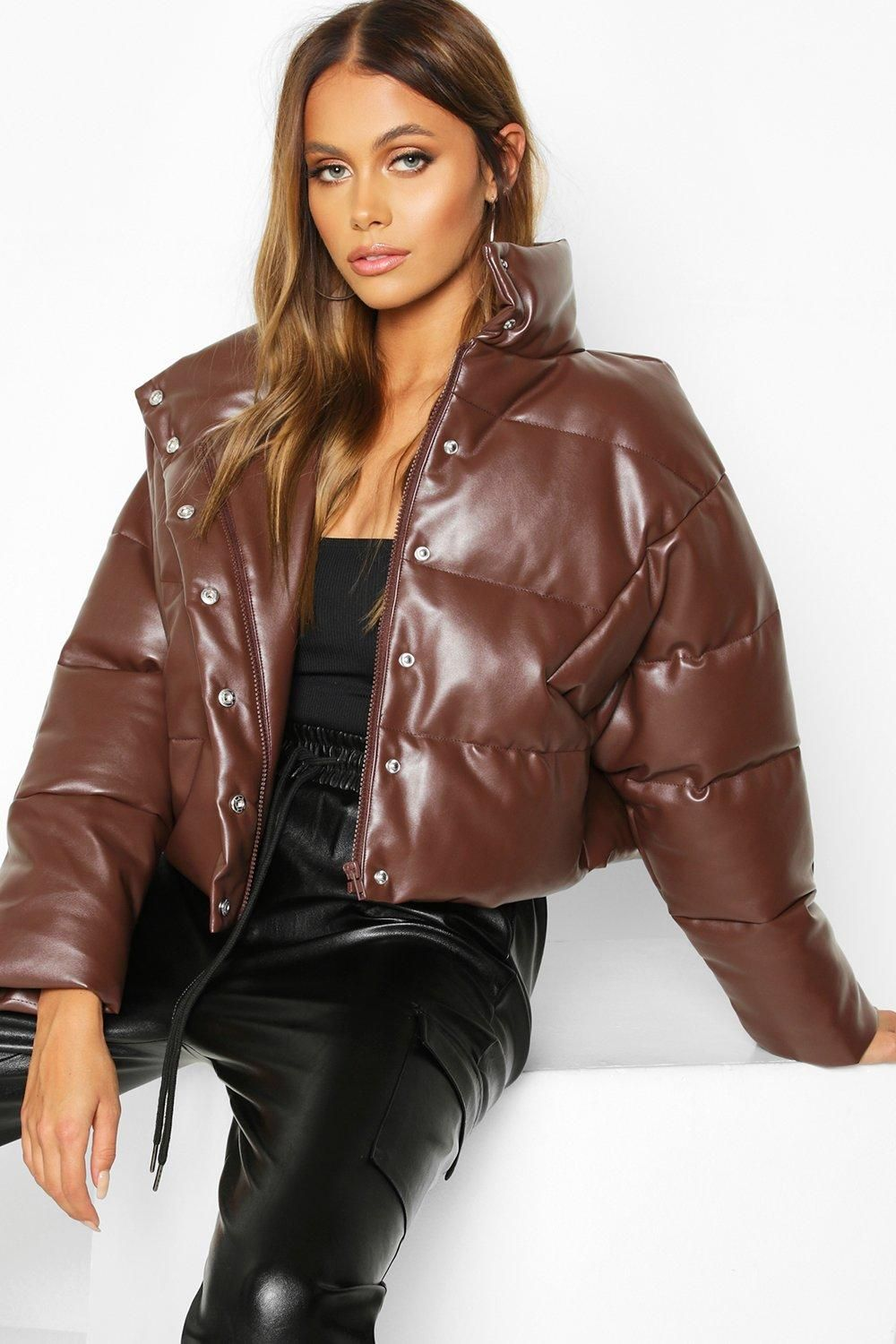 Faux Leather Puffer Boohoo Fashion Leather Puffer Jacket Womens Faux Leather [ 1500 x 1000 Pixel ]