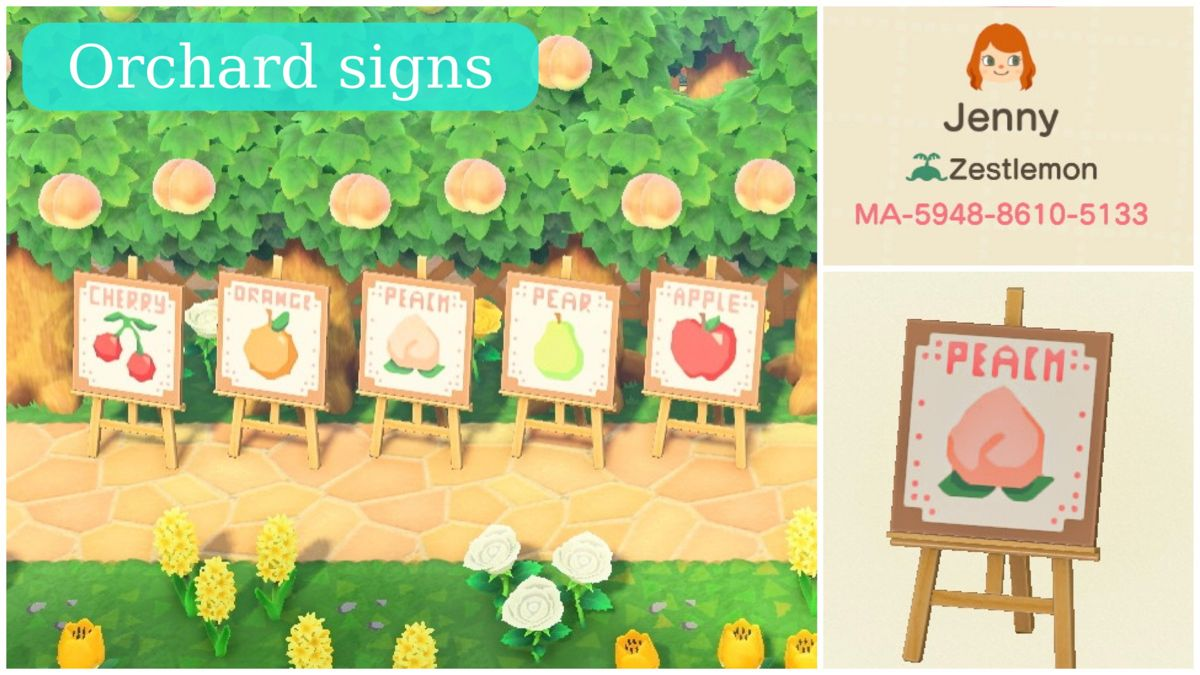 Animal Crossing Orchard Signs Animal Crossing Fruit Animals Animal Crossing 3ds