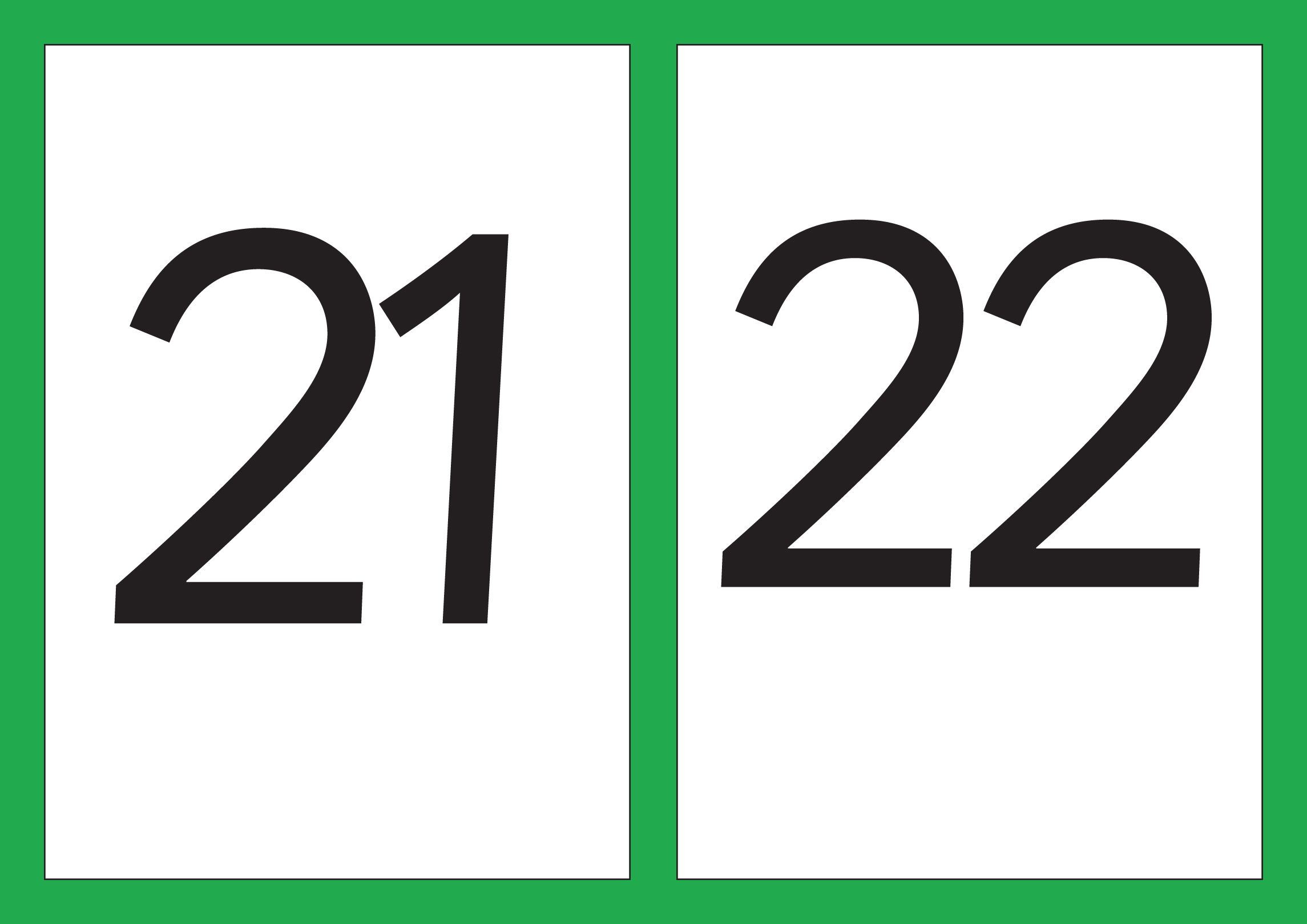A5 Flash Cards Of Digits 21 30