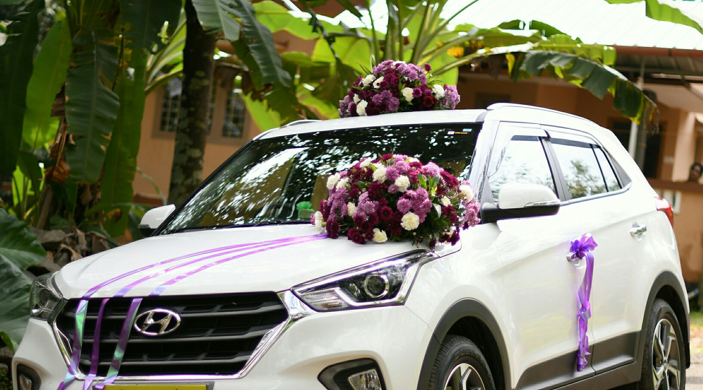 Creta Purple And White Ribbon Wedding Car Decoration Wedding