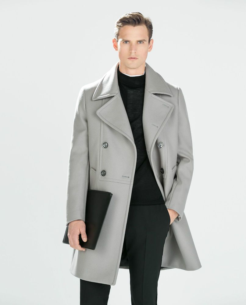 f3cc631c ZARA Man BNWT Light Grey Wool Double Breasted Coat Wide Lapels Limited  Edition