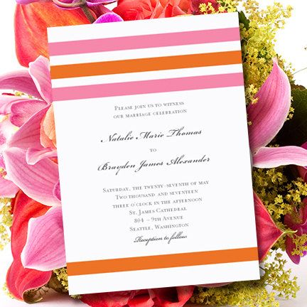 Pink & Orange Wedding Invitations Simply by WeddingTemplates, $8.00--change to navy and green
