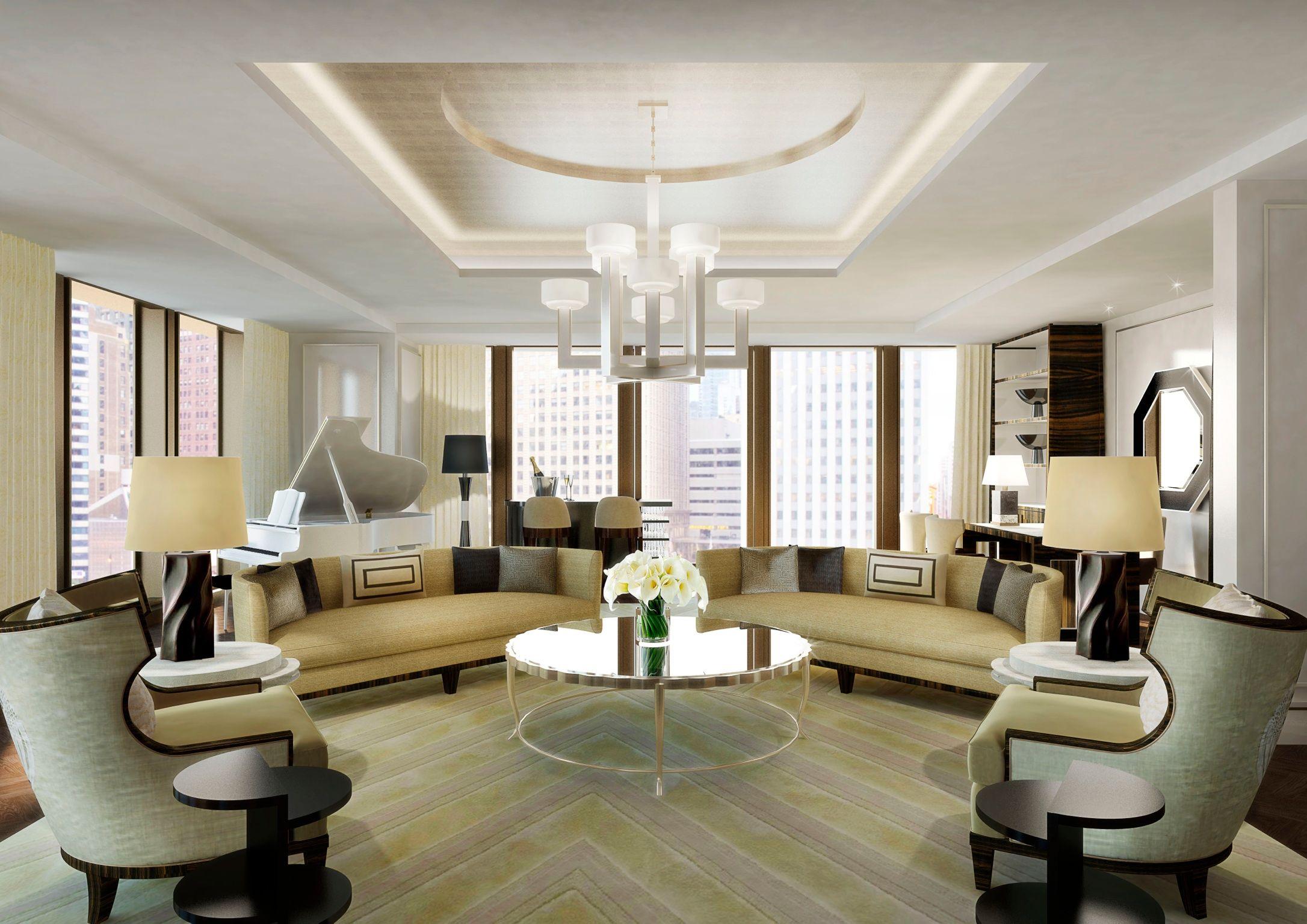 Hotel Chicago Suites The Langham Chicago Hotel Room Interior Living Room Modern Opulent Interiors