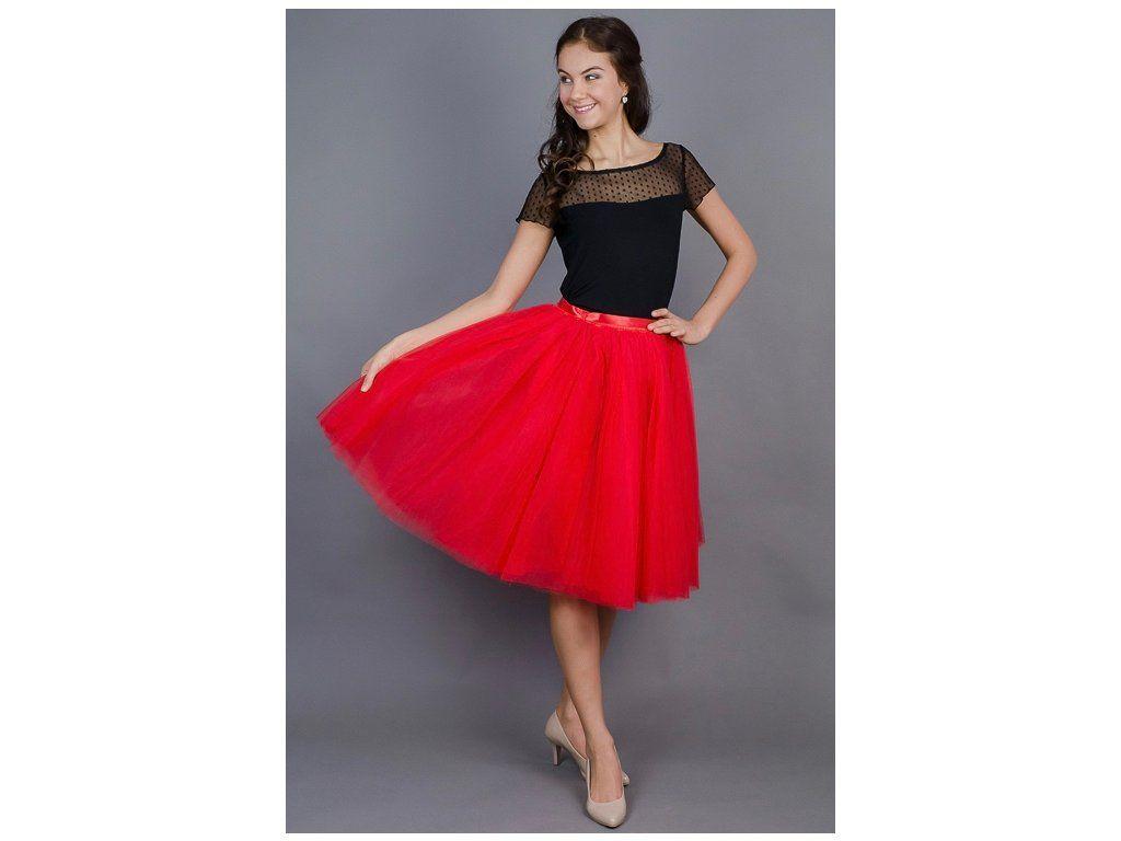 6e79f15896f3 Dámská tylová TUTU sukně červená. stylová tutu sukně ve dvou délkách spodní  neprůhledná vrstva ze
