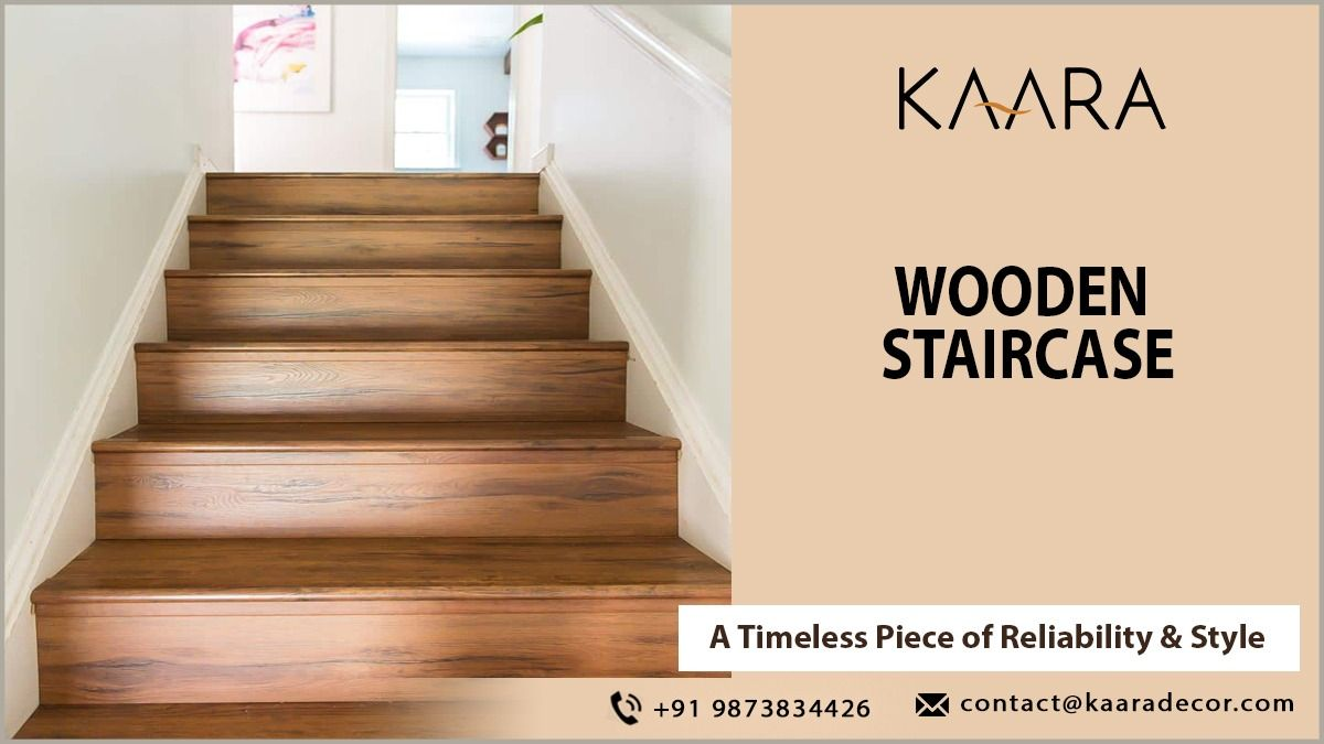 Stunning wooden staircase can change the whole look of your home. Explore unique wooden staircase designs from kaara. For buying/inquiry call us at +91-9873834426 OR mail us your details at contact@kaaradecor.com #woodenstaircase #homedecor #homedesign #homeimprovement #interiordesign #kaara #kaaradecor