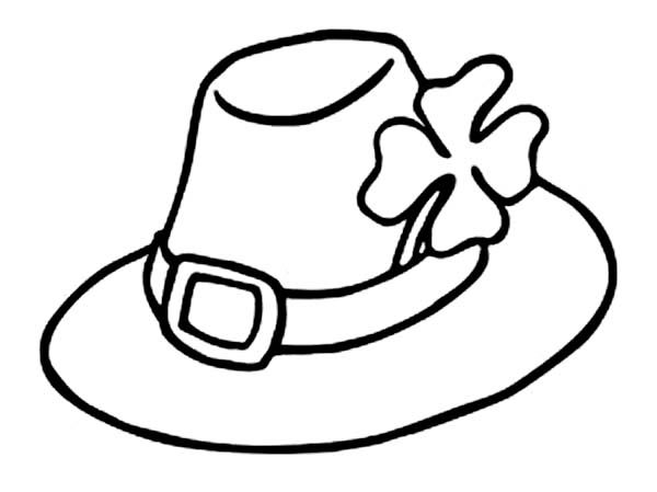 Leprechauns Hat and a Four Leaf Clovers Coloring Page