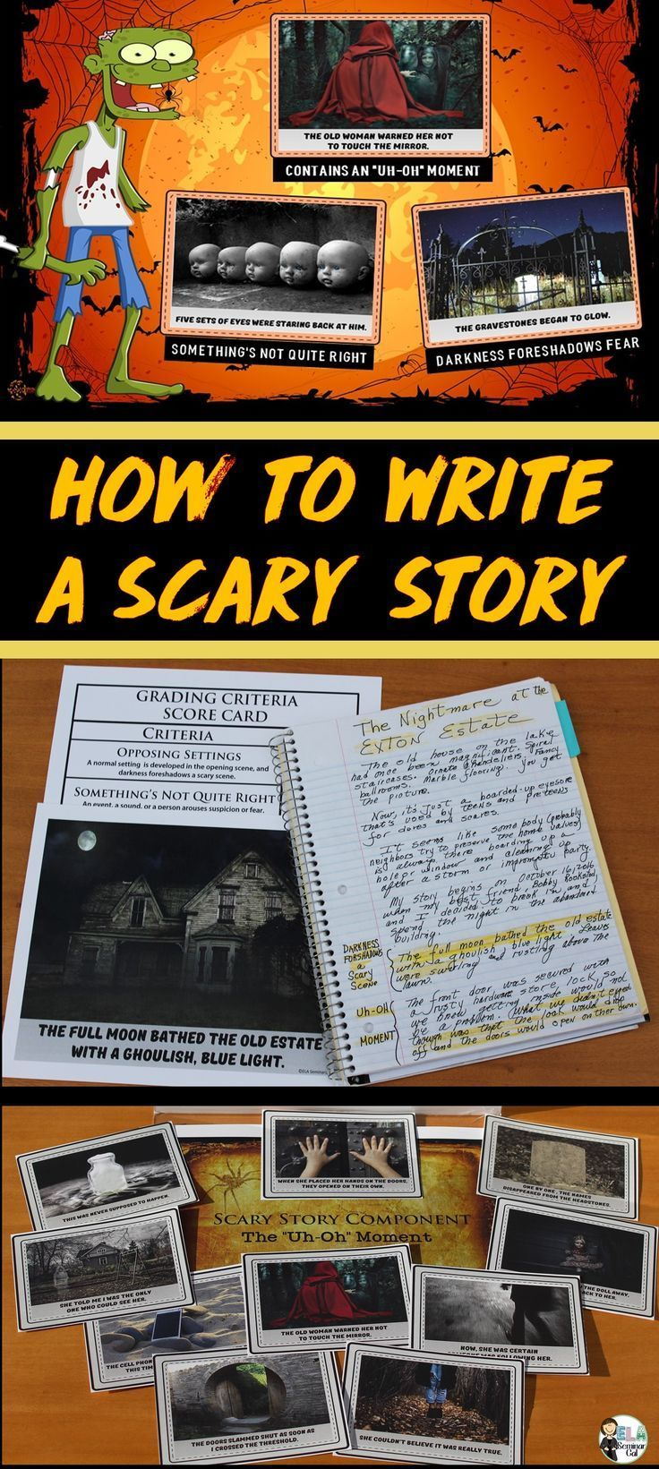 BLOG POST - Scary Story Writing 101: Incorporate 3 scary story elements into narratives to craft classic horror tales.