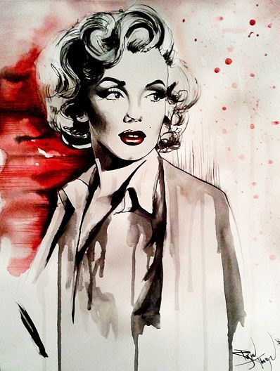 Marilyn monroe pin up art of therese rosier watercolors for Marilyn monroe tattoo canvas