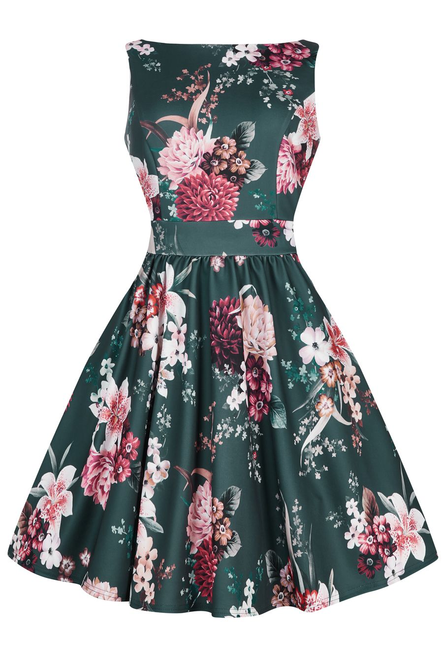Brand New For Autumn 2016 This Classic Lady Vintage 50s Tea Dress Features A 50s Tea Dress Floral Tea Dress Black And White Prom Dresses [ 1350 x 900 Pixel ]