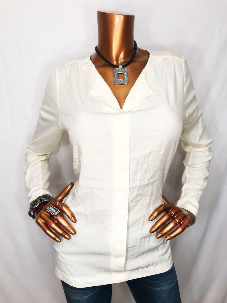 J Jill M Top Sheer Long Sleeve Blouse Stretch V Neck Shirt Ivory