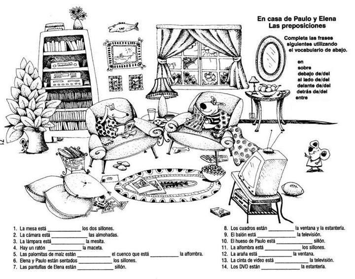 Dónde está cada cosa // Universo ELE | Las preposiciones | Spanish ...