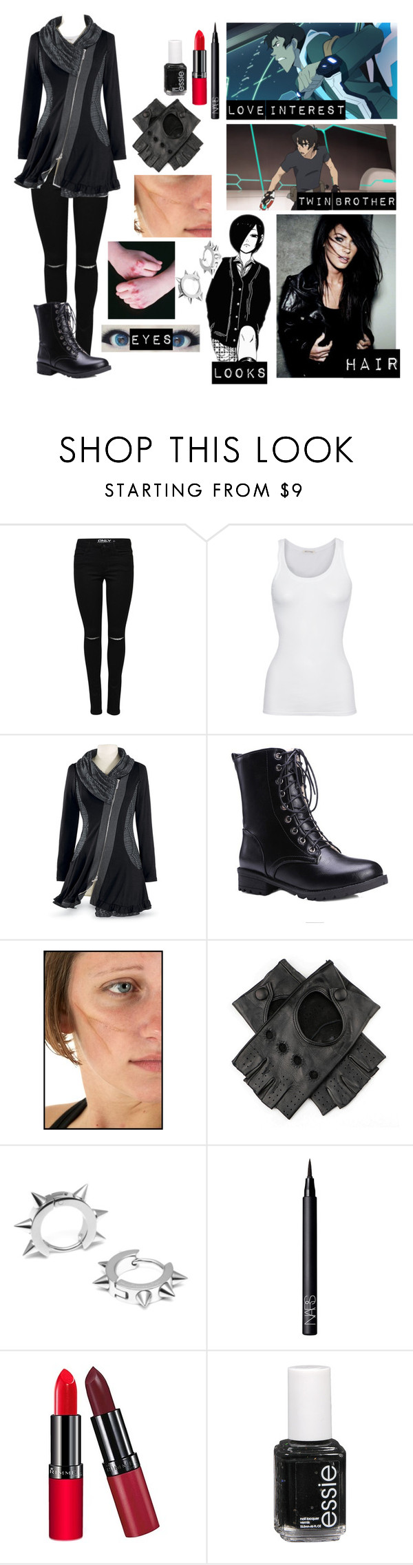 """""""Voltron oc 2"""" by gglloyd ❤ liked on Polyvore featuring American Vintage, Black, Maria Francesca Pepe, NARS Cosmetics, Rimmel and Essie"""