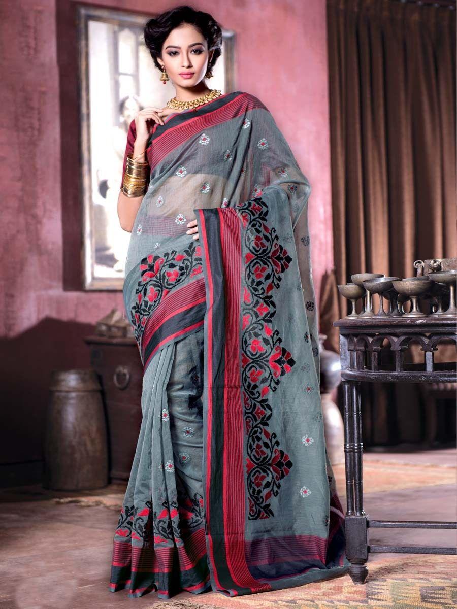 Grandiose grey color cotton #Supernet #Saree with thread work. Item Code : SAX4051 www.bharatplaza.com/new-arrivals/sarees.html