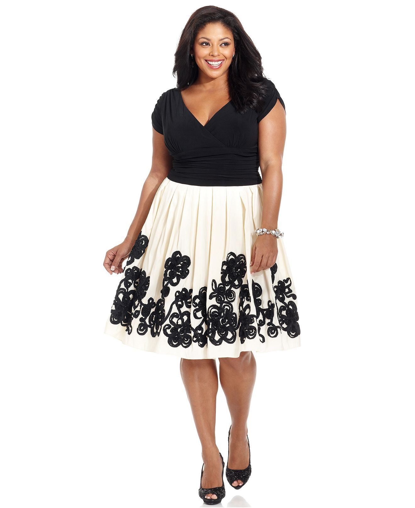 SL Fashions Plus Size Dress, Short-Sleeve Ruched A-Line ...