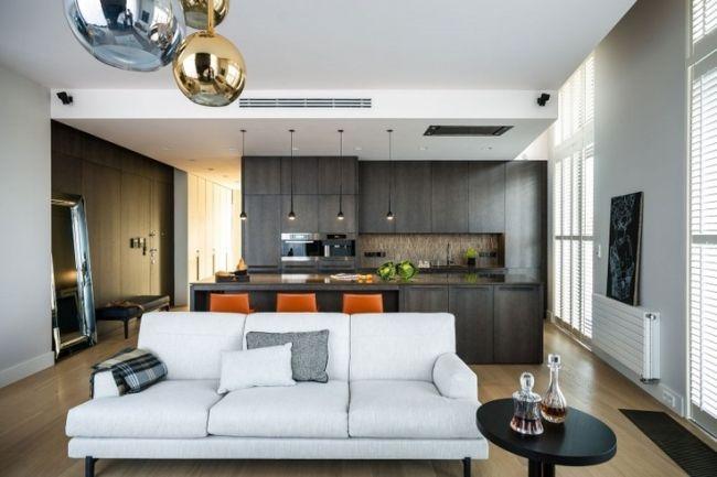 ♥ wohnzimmer und küche in einem dunkel weißes sofa orange hocker - wohnzimmer kuche design