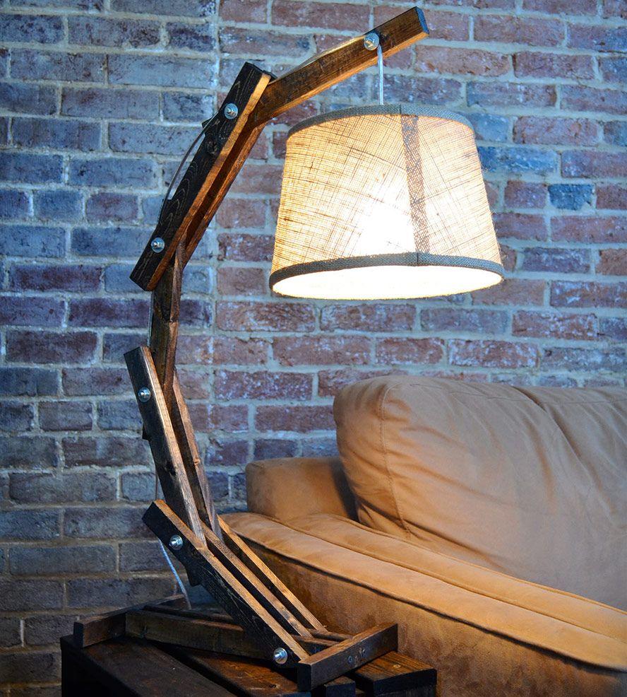 Pallet Floor Lamp: Rustic Wooden Table Lamp