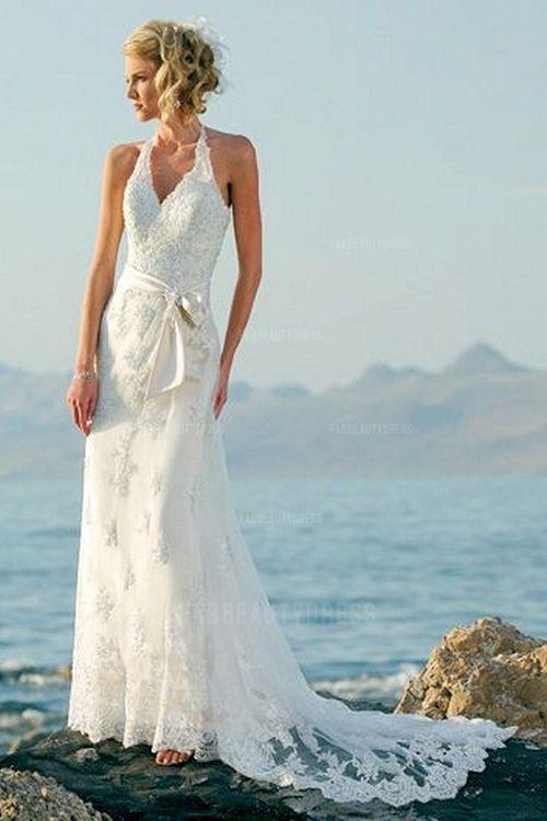 Sheath/Column V-neck Halter Court Train Tulle Wedding Dress ...