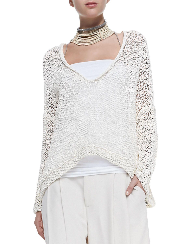 Brunello Cucinelli V-Neck Rubberized Cotton Sweater | knit ...