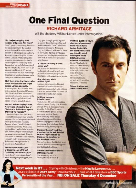 End of Spooks interview Armitage various Pinterest Richard