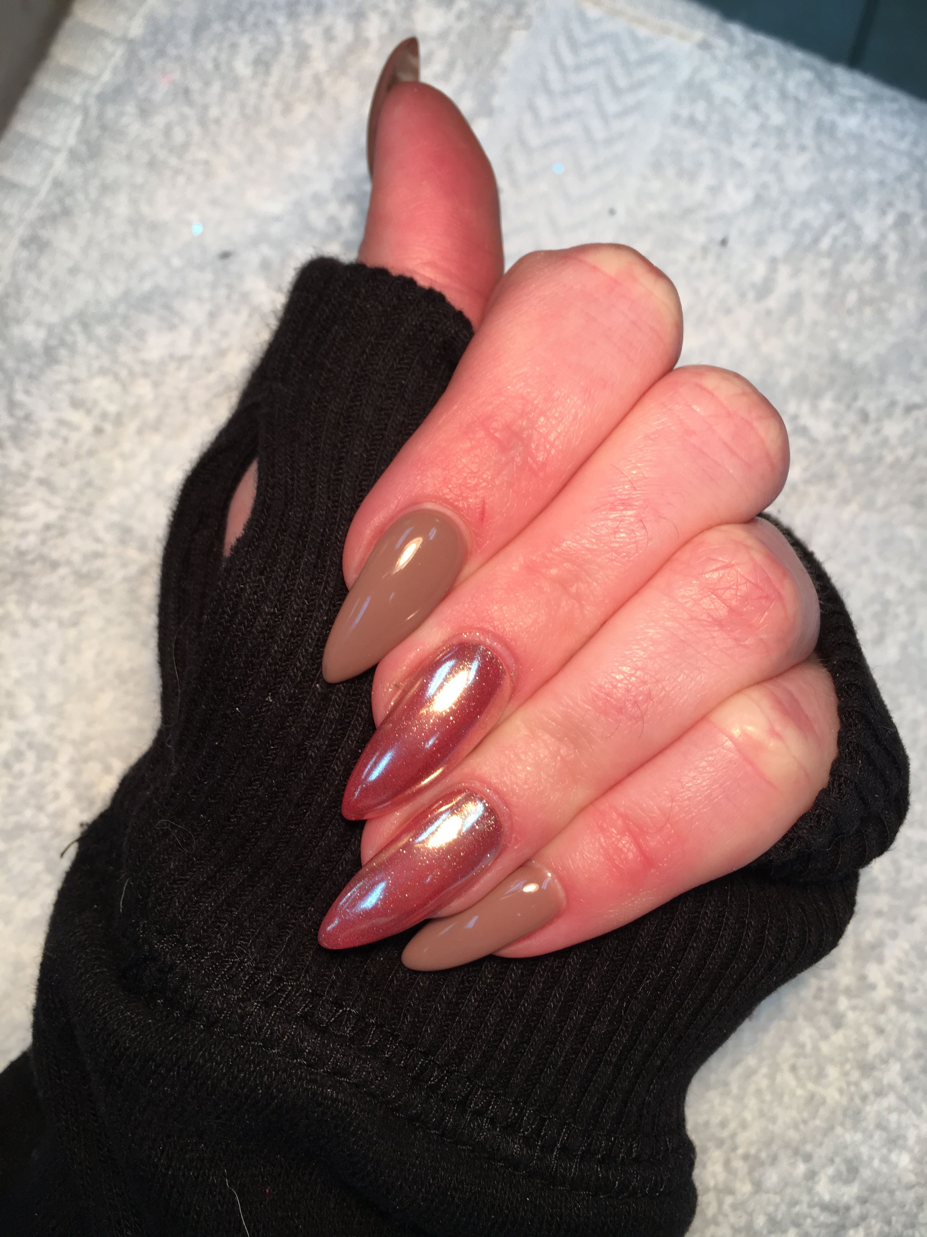 chrome nude stiletto nails 2017 new nails | lovely nails | Pinterest