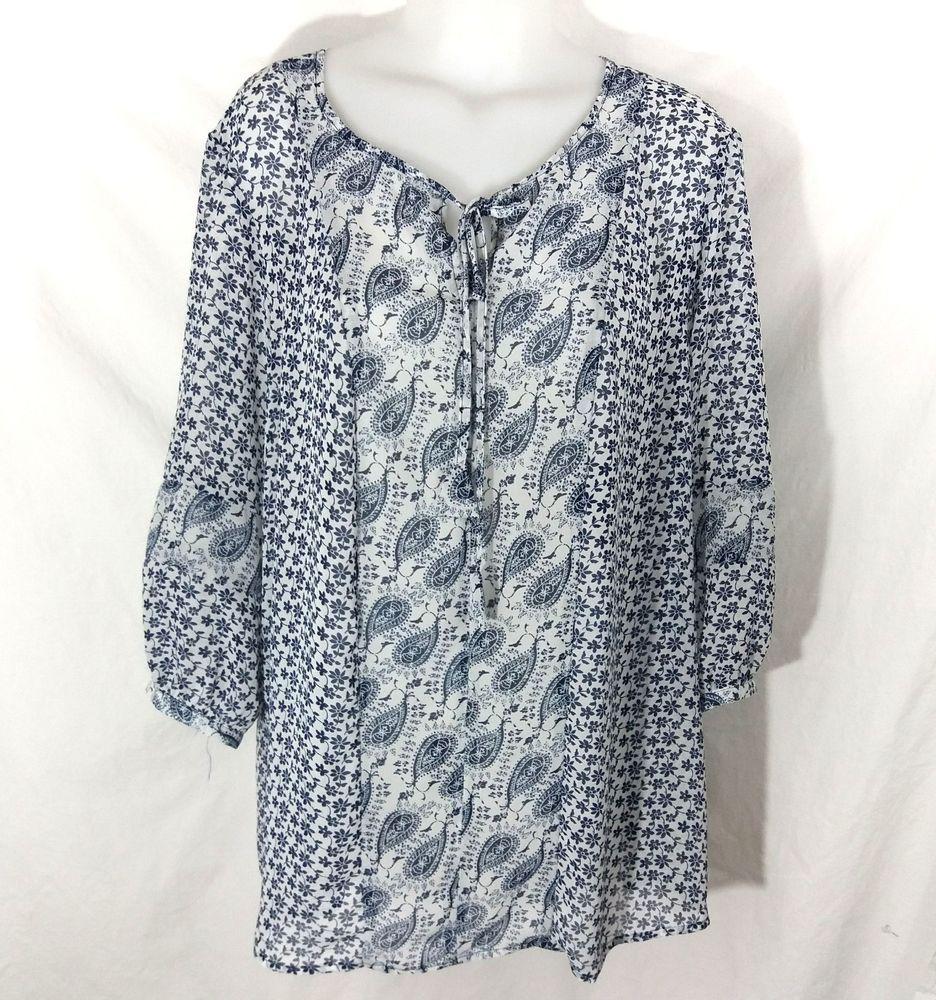 d8765d14d5b Zac   Rachel Woman Sheer Peasant Blouse Plus Size 2X Floral and Paisley   ZacRachel  Blouse