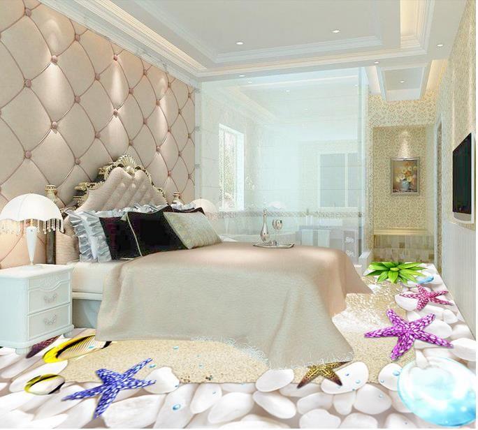 3d Mural Floor Shells Beach Wallpapers For Living Room 3d Pvc Vinyl