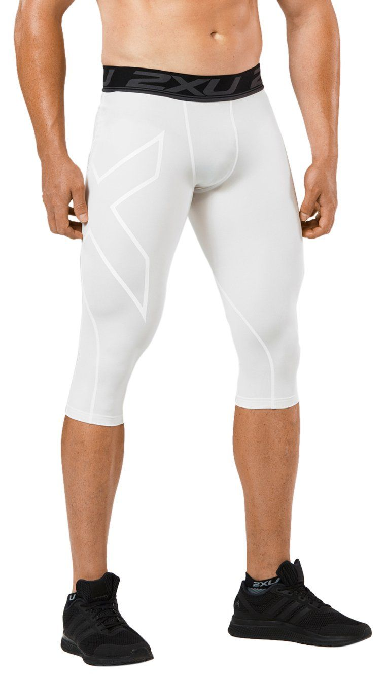 8a8b083260 2XU Men's LKRM 3/4 Compression Tights, White, X-Large. Features ...