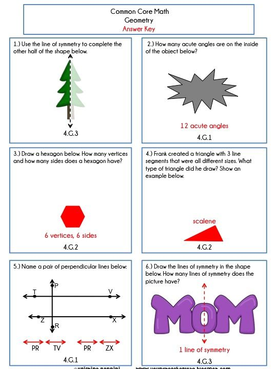 Geometry review worksheets 4th grade