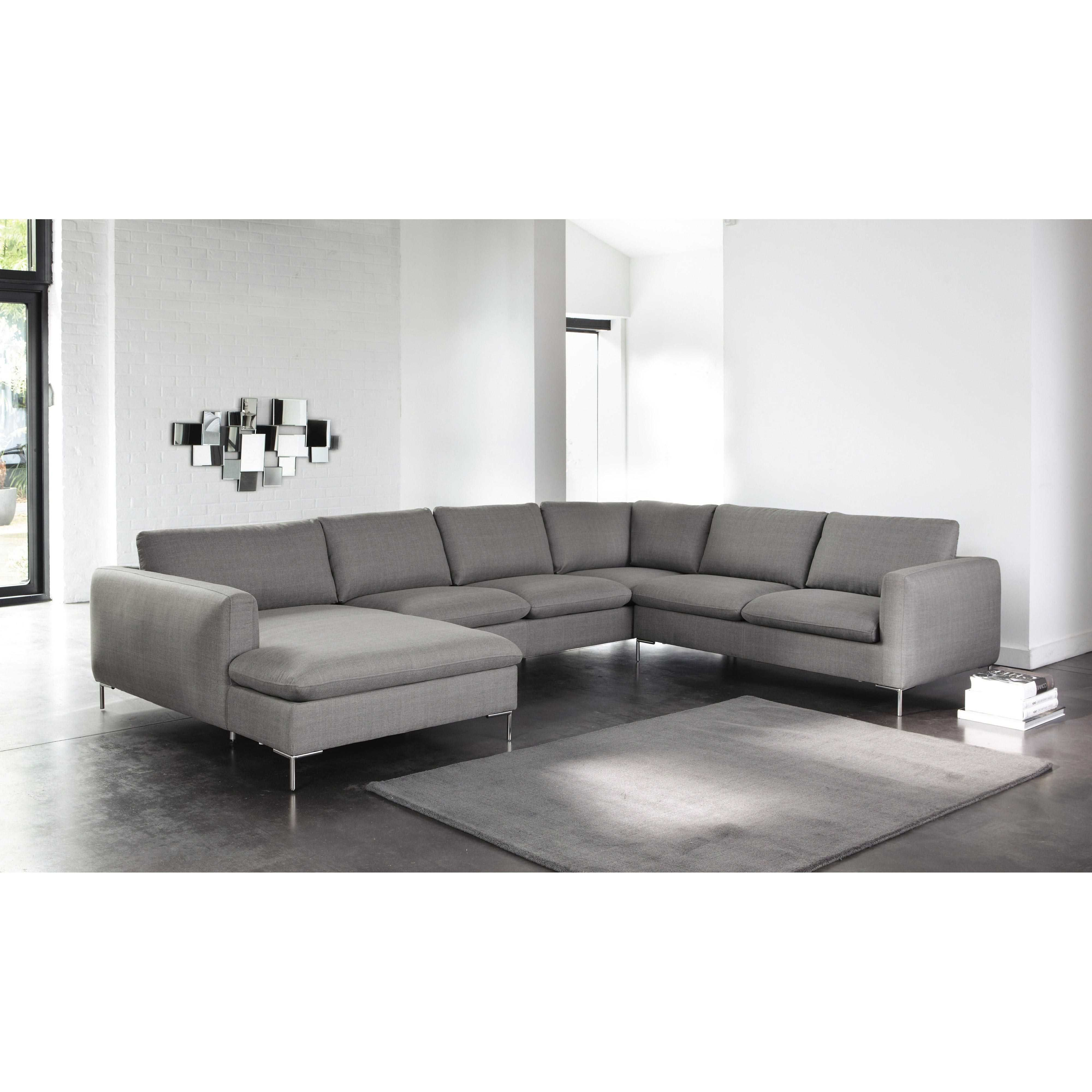 8 seater fabric corner sofa in light grey City
