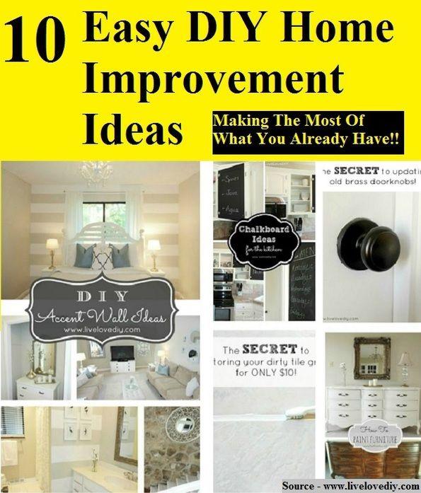 Easy Diy Home Improvement Ideas Diy Pinterest Craft