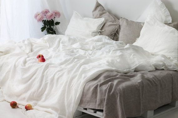Linen Bed Set With Jeans Seams And Bow Ties Linen Duvet Cover Etsy White Linen Bedding Bed Linen Sets Linen Duvet Covers