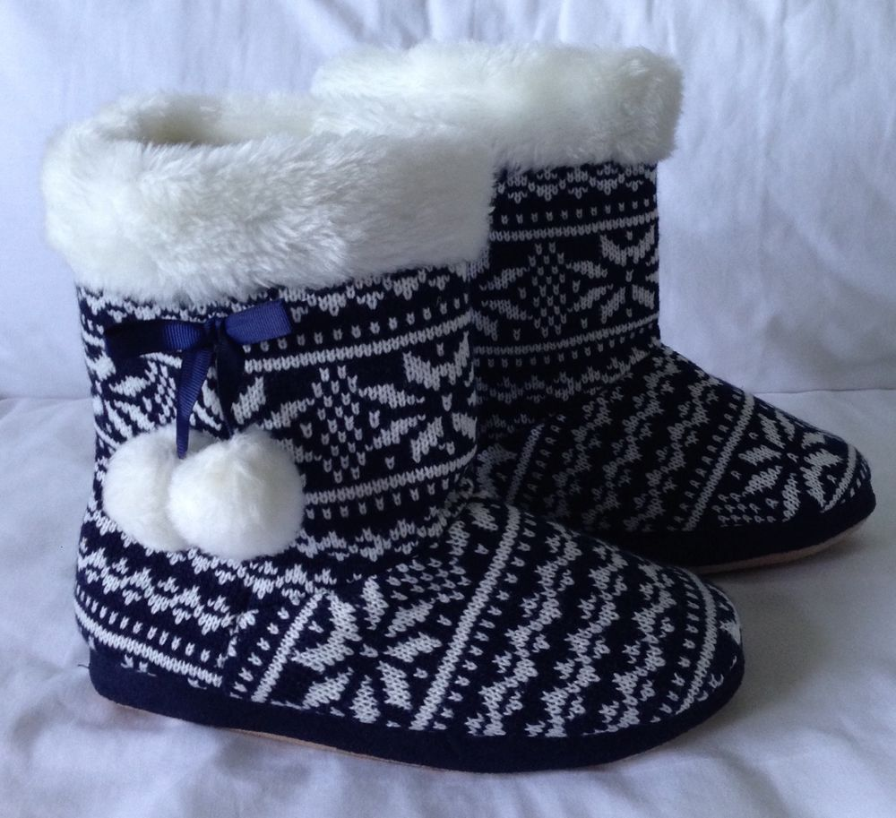 Love To Lounge Nordic Fairisle Knitted Winter Warm Slippers Boot 3 4 36 37 Women 04 20 Warm Slippers Winter Knits Slipper Boots