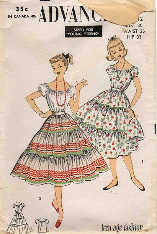 1950s Advance 6719 Vintage Sewing Pattern Teen Peasant Blouse ...