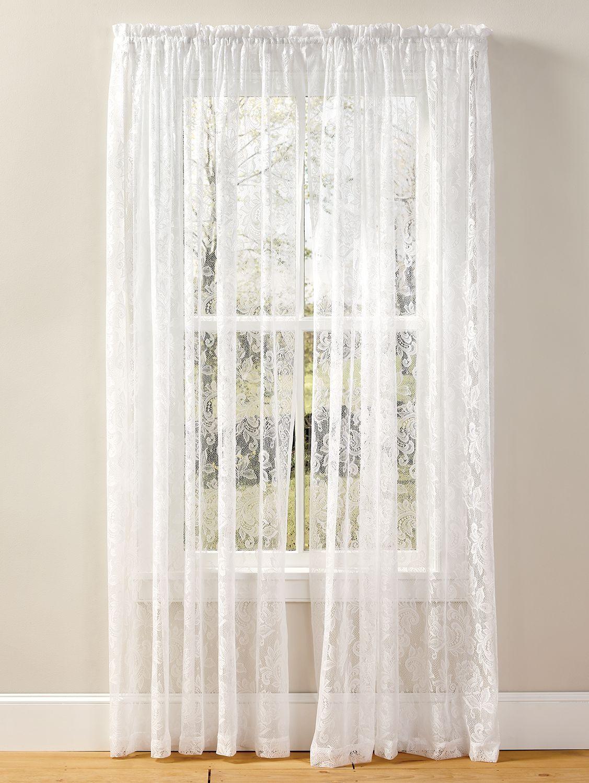 Elegant Lace Rod Pocket Panel Lace Curtains White Lace Curtains