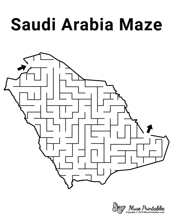 Free Printable Saudi Arabia Maze Download The Maze And Solution At Https Museprintables Com Happy National Day National Day Saudi Free Printable Activities