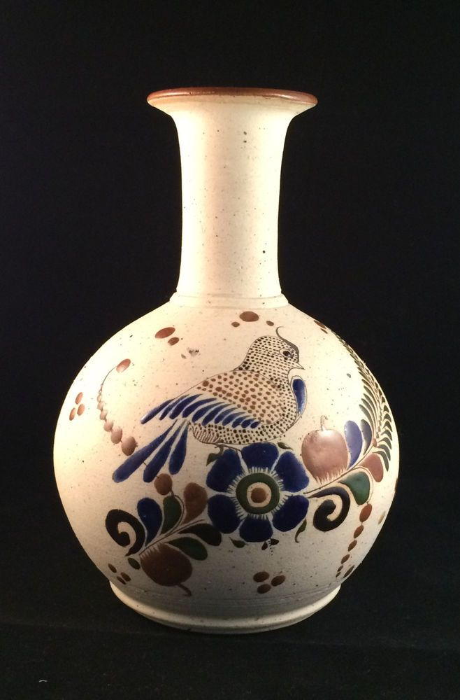 Tonala Bird And Butterfly Sandstone Vase Made In Mexico Elliegant