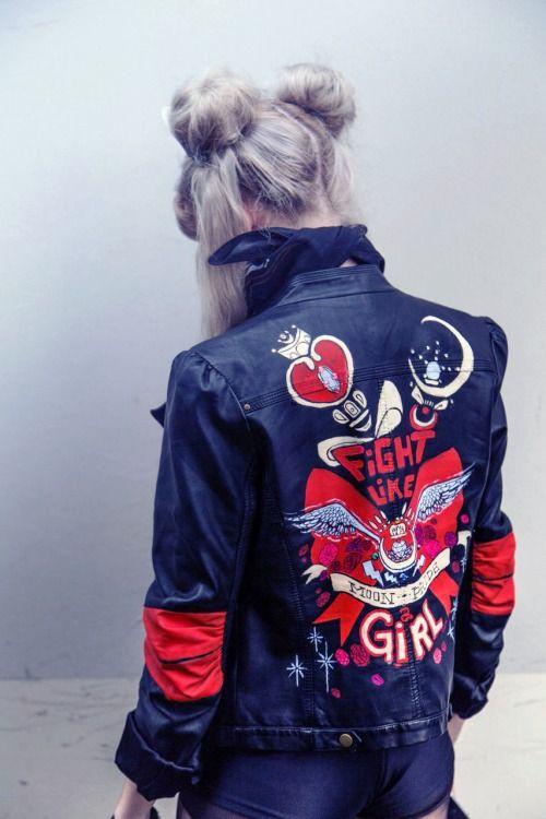 Fight Like a Girl...Sailor Moon Jacket made by portland artist Helen Mask