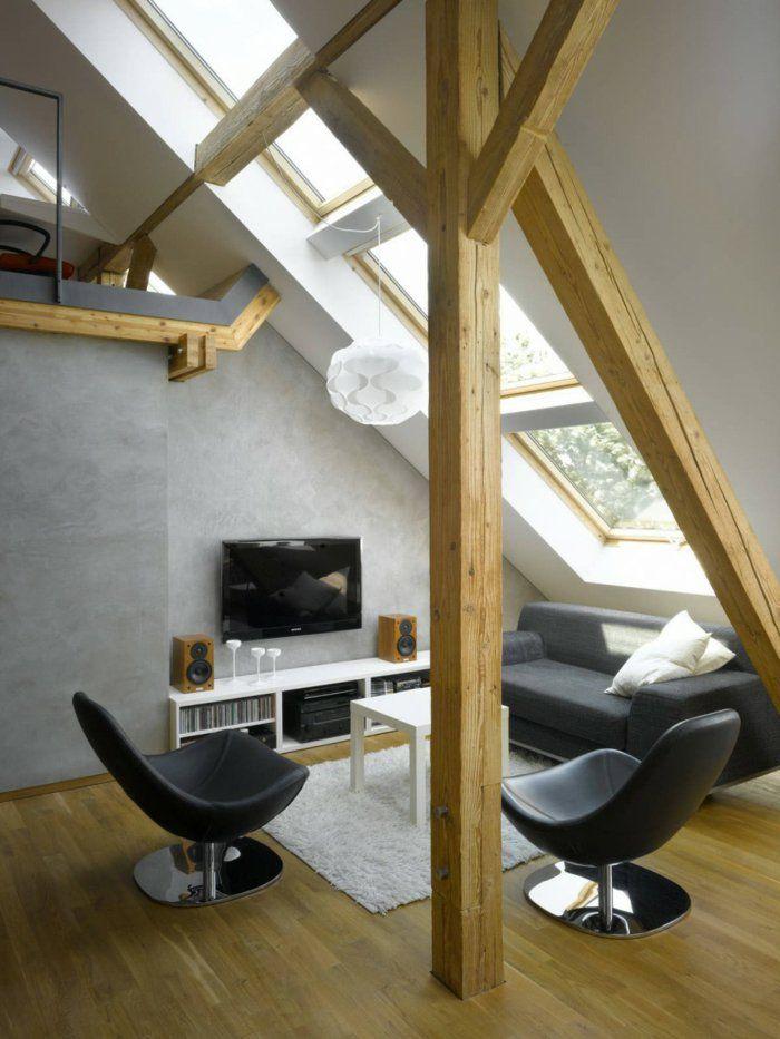 Lampen Und Leuchten Wohnzimmer Dachschrge Weisser Teppich Graue Wnde