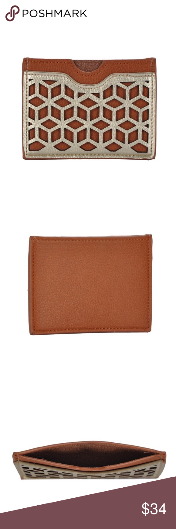 Geometric Card Case Holder | Dark tan, Key card holder and Card case